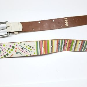 Fossil Accessories - Fossil White Leather Flower Stripe Belt sz Large